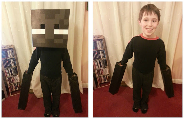 Child wearing Enderman costume