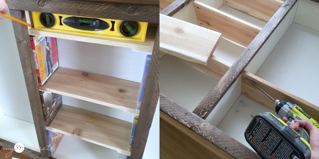 attaching shelves with pocket hole screws