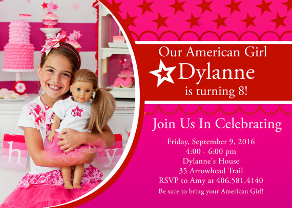 Karen Mom of Threes Craft Blog 3 Options For Party Invites For – American Girl Birthday Invitations