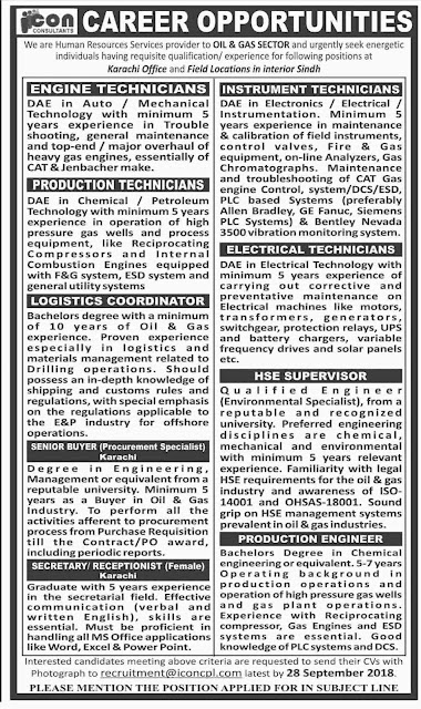 Latest Vacancies Announced in Oil and Gas Sector Karachi 17 September 2018