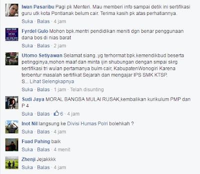 Komentar-komentar pengaduan ke sekolah aman