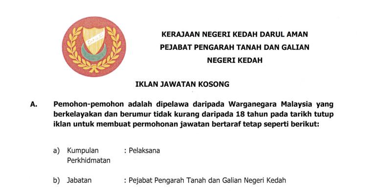 Jawatan Kosong di Pejabat Pengarah Tanah dan Galian Negeri Kedah