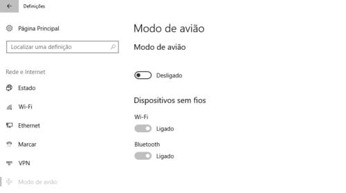 opções do modo avião do windows 10
