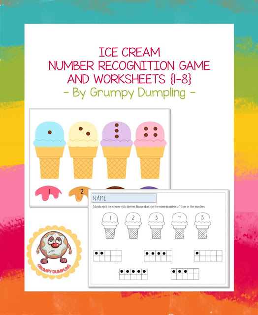 https://www.teacherspayteachers.com/Product/Ice-Cream-Number-Recognition-Game-and-Worksheets-2283604