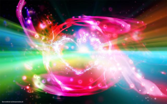 Unieke abstracte liefdes wallpaper met felle kleuren en lichten