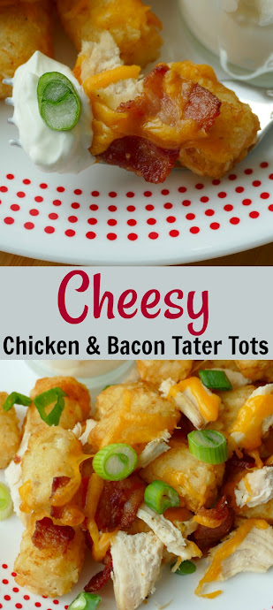 Cheesy Chicken and Bacon Tater Tots Recipe from Hot Eats and Cool Reads! This easy and delicious appetizer or dinner is kid approved and the adults love it too! Great for parties or any other occasion!