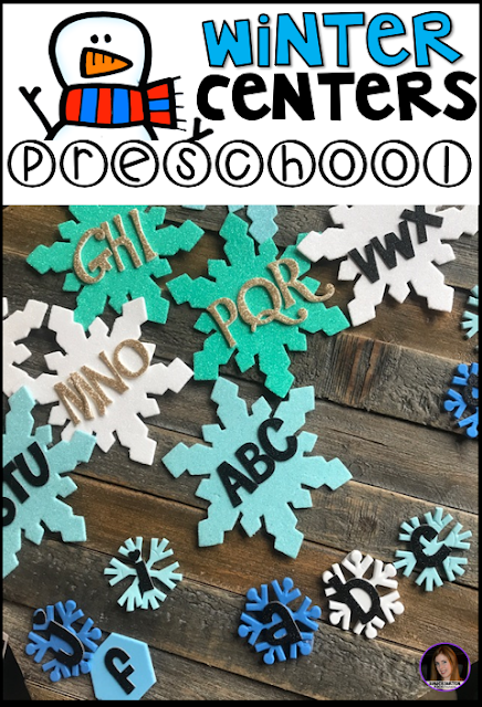 Winter and Snowman Hands-On Math and Literacy Centers and Activities for Preschool.