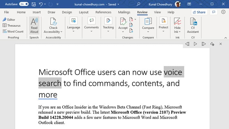 Microsoft Office users can now use voice search to find commands, contents, and more