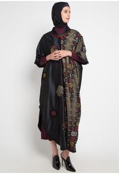 Zalora Gamis Muslimah Kaftan Modern Polyester Hitam Baju Muslim