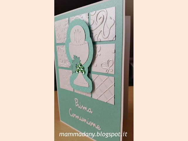 Card Tiffany portasoldi con calice per Prima Comunione