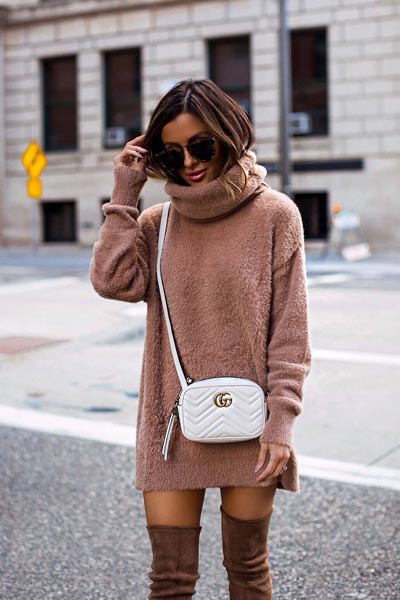 17 Fresh Fall Fashion Outfits To Update Your Closet In 2018 | Pullover in Nude+ Over Knee Boots+ Gucci Shoulder Bag