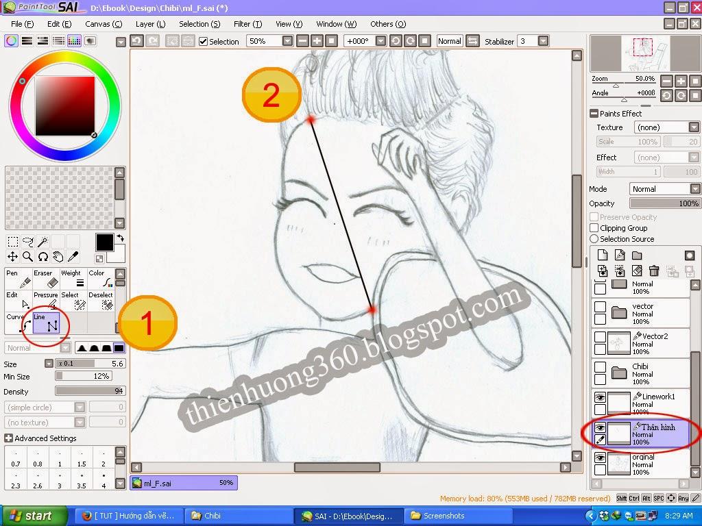 Hướng dẫn vẽ Chibi ca sĩ Mỹ Linh với Paint tool SAI