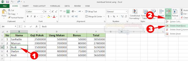 Menyisipkan dan Menghapus Kolom atau Baris di Excel