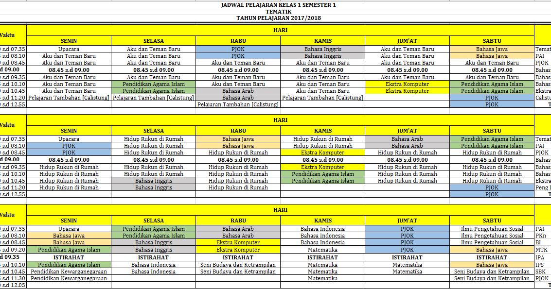 Jadwal Pelajaran Kurikulum 2013 Dan Ktsp Kombinasi Untuk Sd Kurikulum 2013 Revisi