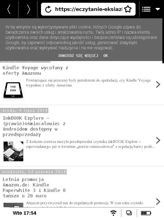 Strona eczytanie-eksiazki.blogspot.com w przeglądarce na PocketBook Basic Touch 2 Save & Safe