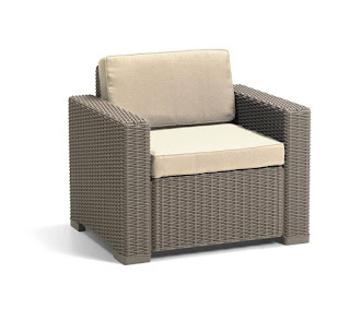 Allibert California Armchair 2 Seat/Chair,Sofa, Cappuccino with Sand Cushions £139.99