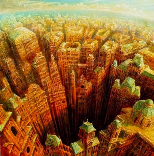 12-Gate-of-Hell-Marcin-Kołpanowicz-Painting-Architecture-in-Surreal-Worlds-www-designstack-co