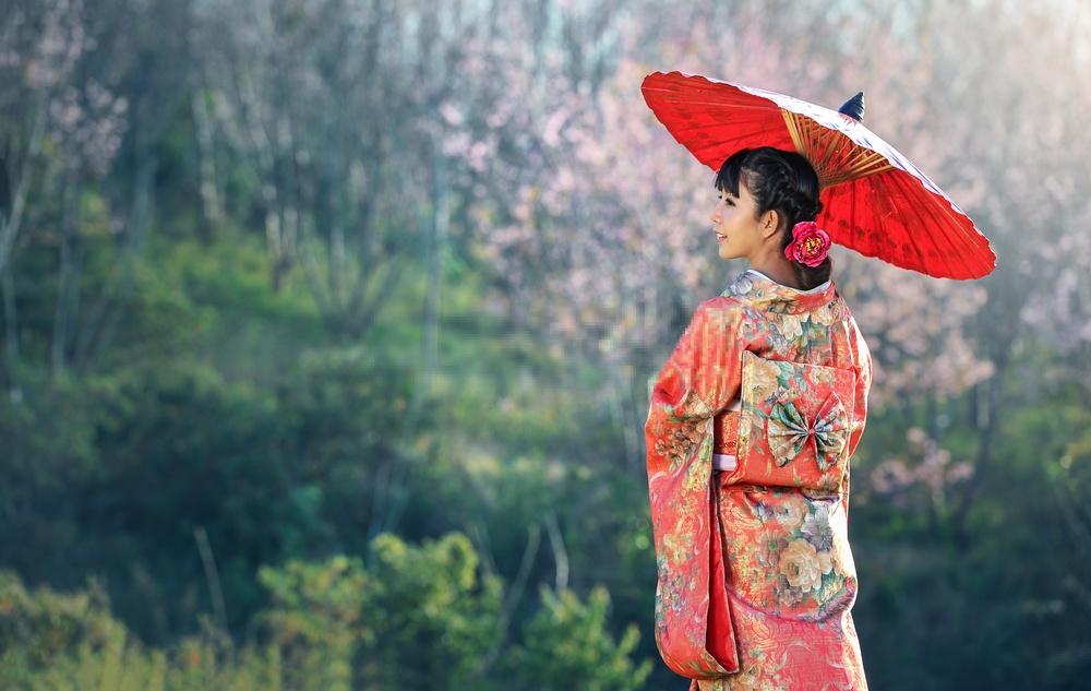 Mặc kimono ở Asakusa