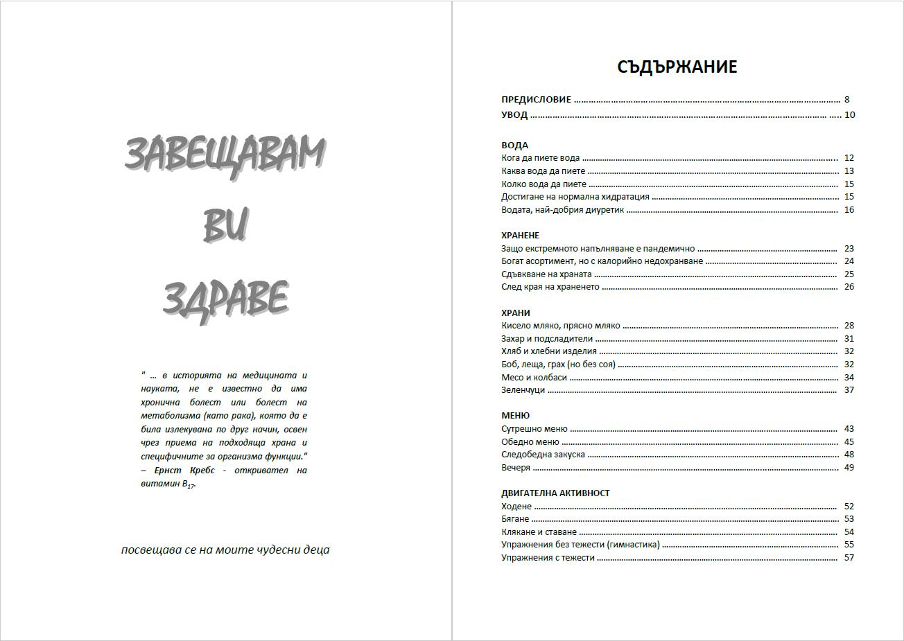 Челна страница и съдържание на книгата