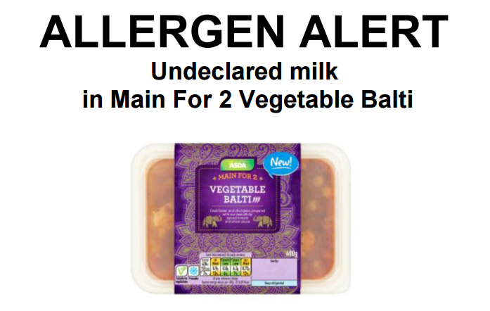 Asda Recalls Main For 2 Vegetable Balti For Undeclared Milk The