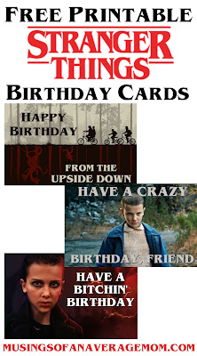 Stranger Things birthday cards to print