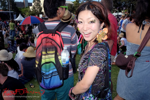 Large colourful earrings, shirt, happy face, street style, Newtown Festival, Fujifilm X-Pro1,