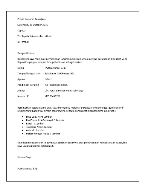 Contoh surat lamaran kerja Guru honorer.