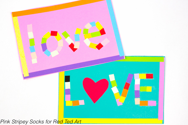 "Mosaic ""Love"" Art Activity- Create beautiful Paper mosaics this Valentine's Day with the kids!"