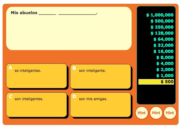 Quia Spanish Games Rags To Riches | Cartoonjdi co