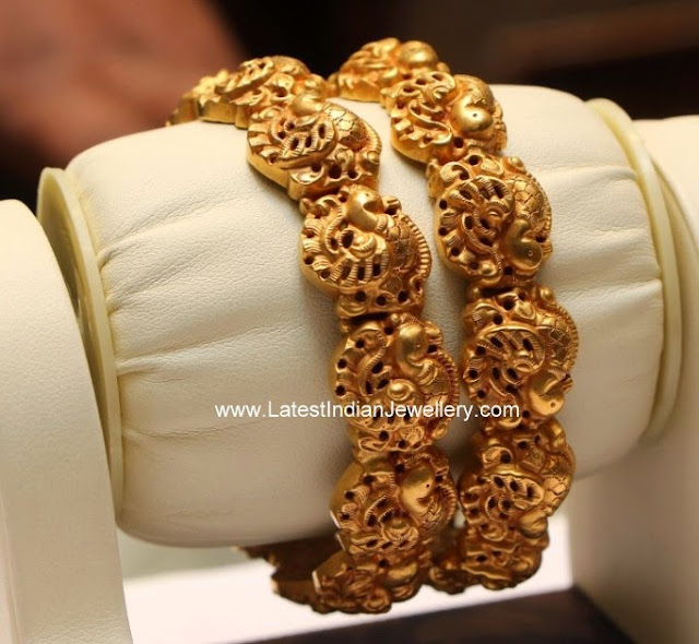 Peacock Design Gold Nakshi Bangles