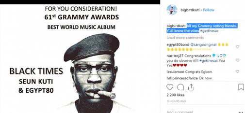 Seun Kuti Nominated For Grammy Awards