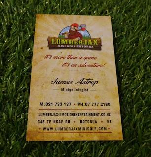 James Astrop's minigolf business card