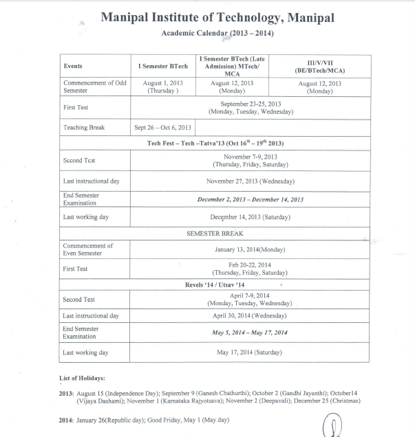 Class Notes : Manipal Institute of Technology: Academic Calendar