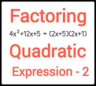 Factoring of quadratic expression - 2