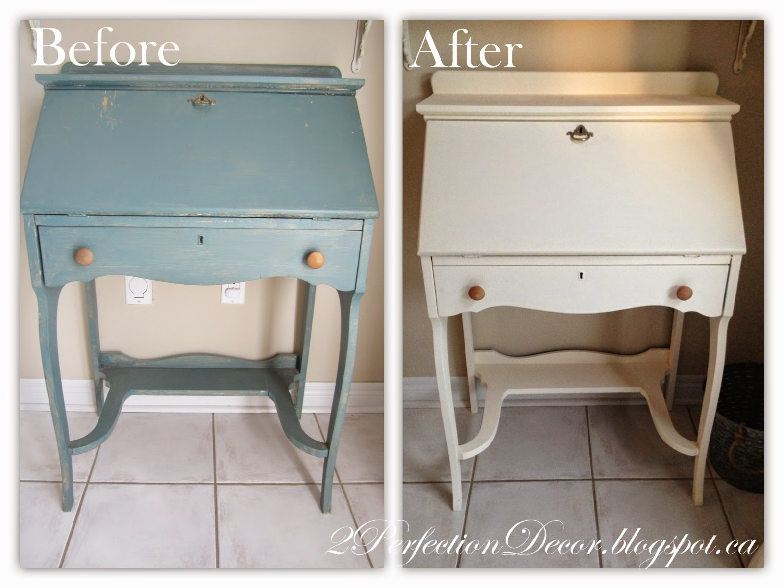 Magnificent 2Perfection Decor Vintage Secretary Desk Makeover Download Free Architecture Designs Xerocsunscenecom