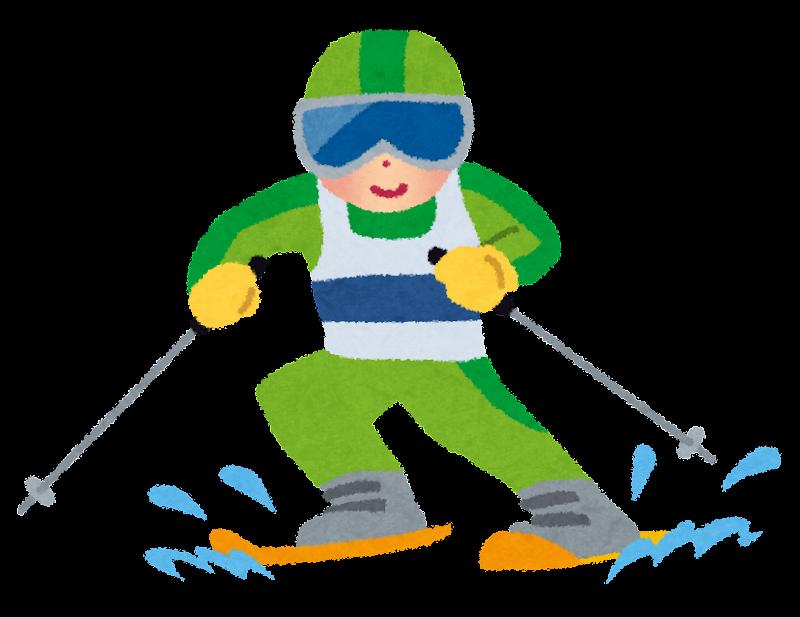冬季オリンピックのイラストアルペンスキー かわいいフリー素材集