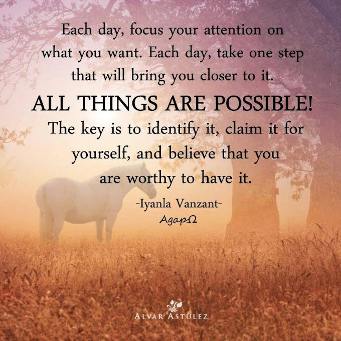 Each day, focus your attention on what you want. Each day, take one step that will bring you closer to it. ALL THINGS ARE POSSIBLE! The key is to identify it, claim it for yourself, and believe that you are worthy to have it.