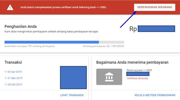 Cara Menambahkan Metode Pembayaran BANK pada Google Adsense sampai Verifikasi