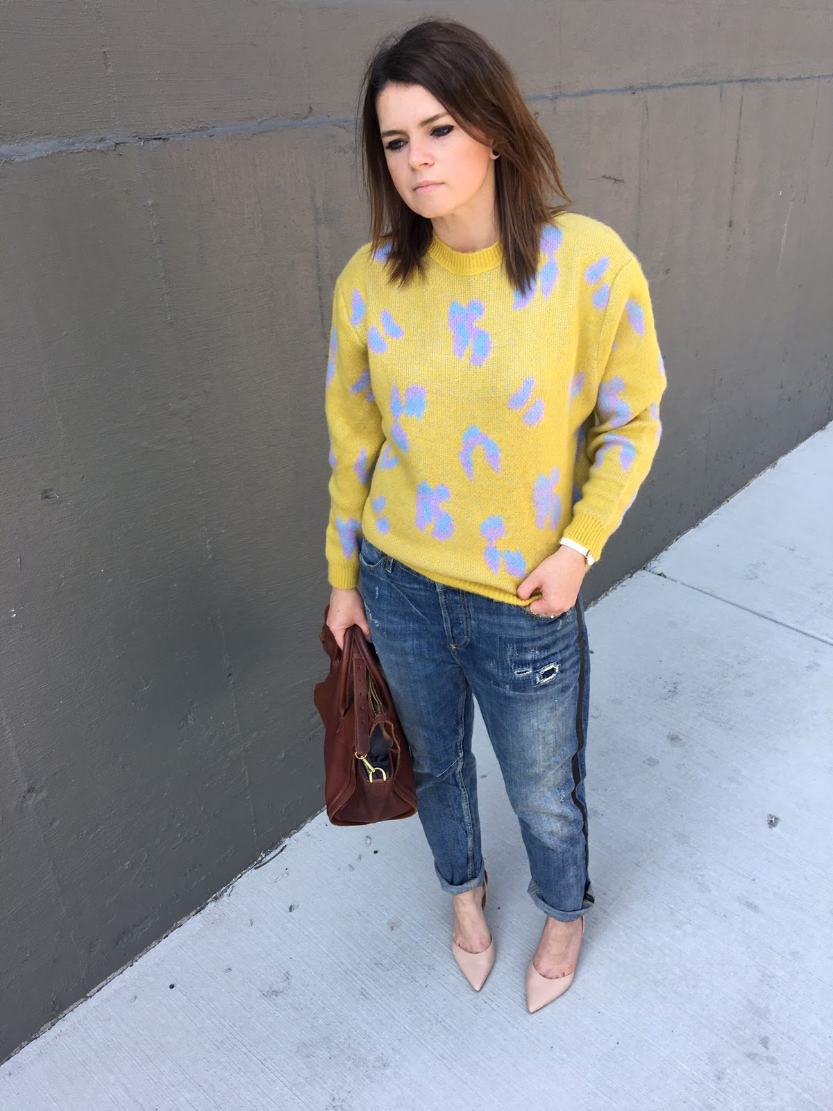Yellow + leopard print sweater
