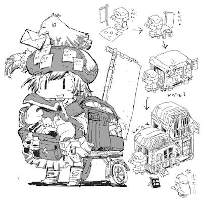 キャラクターデザイン:行商人をしろが描いた場合のイラスト。