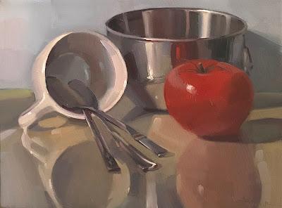 oil painting still life tomato art by sarah sedwick