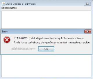 e-Faktur tidak dapat menghubungi EtaxInvoice Server