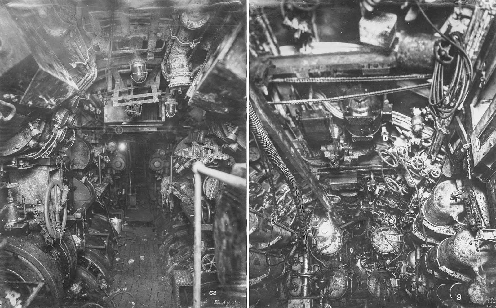 (Left) Electric control room, looking forward. (Right) Forward torpedo room.