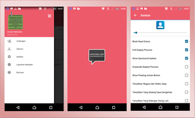 BBM MOD Material Pink Themes Based 2.13.0.22 APK