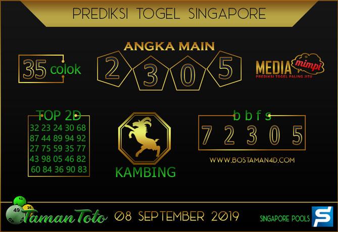 Prediksi Togel SINGAPORE TAMAN TOTO 08 SEPTEMBER 2019