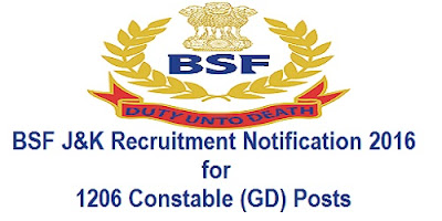 BSF J&K Recruitment 2016