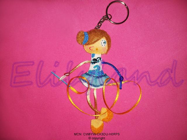 Mini-Elily Muñeca Fieltro Gimnasta Cinta Llavero