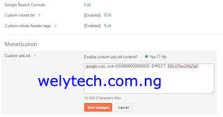 Setup Ads.txt File from Blogger Dashboard