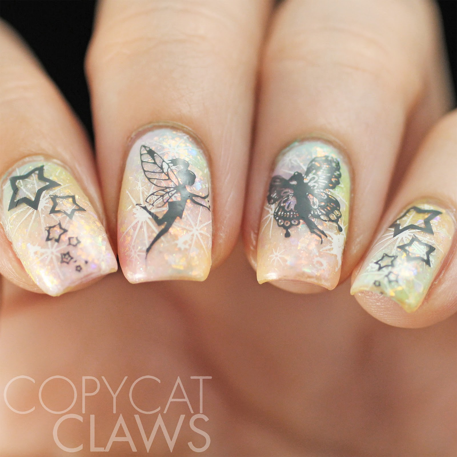Copycat Claws: The Digit-al Dozen does Whimsy: Fairy Nail Stamping