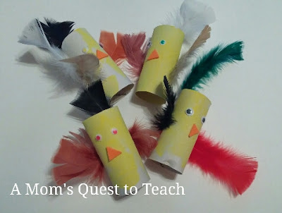 completed toilet paper roll chicks kids craft